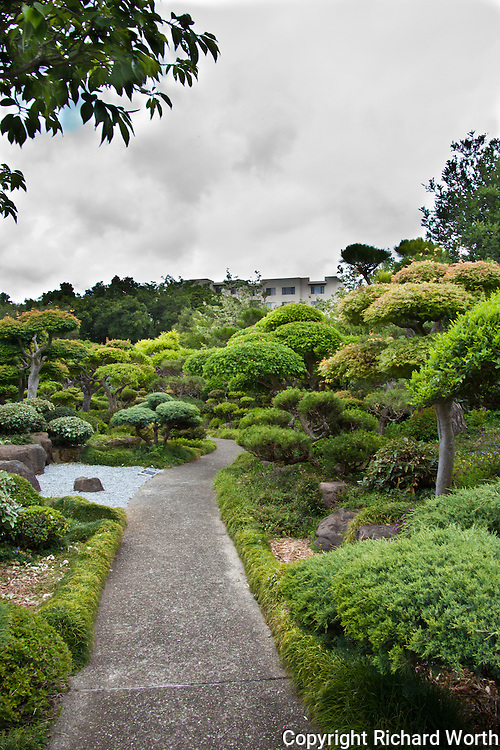 The Japanese Gardens are nestled in an urban area where nearby apartments have a view from above.
