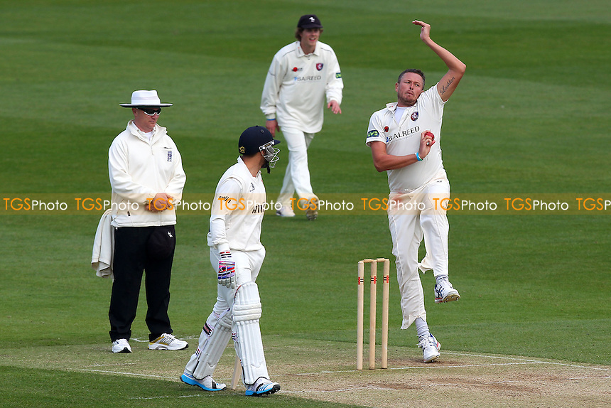 Mitchell Claydon in bowling action for Kent - Essex CCC vs Kent CCC - Pre-Season Friendly Cricket Match at the Essex County Ground, Chelmsford - 03/04/14 - MANDATORY CREDIT: Gavin Ellis/TGSPHOTO - Self billing applies where appropriate - 0845 094 6026 - contact@tgsphoto.co.uk - NO UNPAID USE