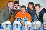 Top: Alpine mountain climber Mick Fowler (seated) at a lecture being held at the Great Southern Hotel in Killarney on Saturday evening, along with, l-r: John OCallaghan (MCI), Brian Mullins, Blarney, Mark Nolan, Tralee, and Barry Speight, Killarney..