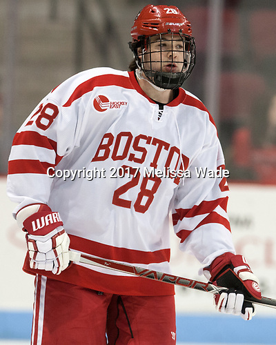 Johnny McDermott (BU - 28) - The Boston University Terriers defeated the University of Massachusetts Minutemen 3-1 on Friday, February 3, 2017, at Agganis Arena in Boston, Massachusetts.The Boston University Terriers defeated the visiting University of Massachusetts Amherst Minutemen 3-1 on Friday, February 3, 2017, at Agganis Arena in Boston, MA.