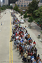 Lines gathered at the Louisiana Superdome Sunday afternoon.<br />