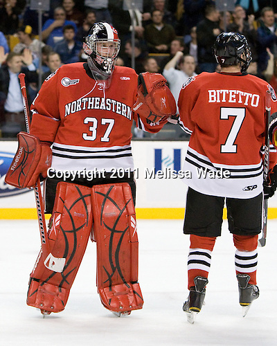 Chris Rawlings (Northeastern - 37), Anthony Bitetto (Northeastern - 7) - The Boston College Eagles defeated the Northeastern University Huskies 7-6 (OT) in the 2011 Beanpot Final on Monday, February 14, 2011, at TD Garden in Boston, Massachusetts.