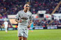 SWANSEA, WALES - FEBRUARY 07: Jonjo Shelvey of Swansea runs to take a corner kick during the Premier League match between Swansea City and Sunderland AFC at Liberty Stadium on February 7, 2015 in Swansea, Wales.