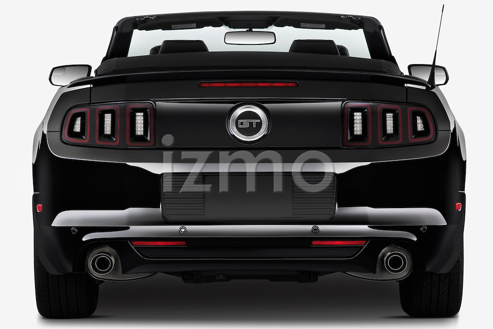 Straight rear view of a   2013 Ford Mustang GT Premium Convertible