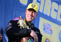 Feb 28, 2016; Chandler, AZ, USA; NHRA pro stock driver Jason Line celebrates after winning the Carquest Nationals at Wild Horse Pass Motorsports Park. Mandatory Credit: Mark J. Rebilas-