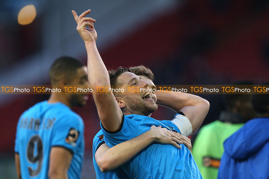 Callum Reynolds of Barnet leads the celebrations after Sheffield United vs Barnet, Emirates FA Cup Football at Bramall Lane on 6th January 2019