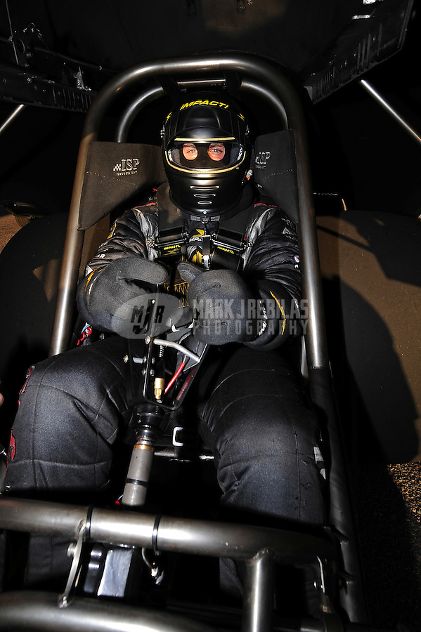 Jan 25, 2009; Chandler, AZ, USA; NHRA funny car driver Matt Hagan during testing at the National Time Trials at Firebird International Raceway. Mandatory Credit: Mark J. Rebilas-