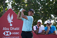 Yuxin Lin (AM)(CHN) on the 17th tee during Round 3 of the Abu Dhabi HSBC Championship at the Abu Dhabi Golf Club, Abu Dhabi, United Arab Emirates. 18/01/2020<br /> Picture: Golffile | Thos Caffrey<br /> <br /> <br /> All photo usage must carry mandatory copyright credit (© Golffile | Thos Caffrey)