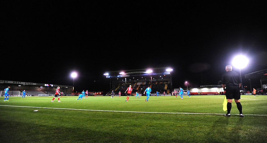 A general view of The Gelder Group Sincil Bank Stadium home of Lincoln City during their game against Tamworth<br /> <br /> (Photo by Chris Vaughan/CameraSport)<br /> <br /> Football - The Skrill Premier - Lincoln City v Tamworth - Tuesady 8th October 2013 - Gelder Group Sincil Bank Stadium - Lincoln<br /> <br /> &copy; CameraSport - 43 Linden Ave. Countesthorpe. Leicester. England. LE8 5PG - Tel: +44 (0) 116 277 4147 - admin@camerasport.com - www.camerasport.com