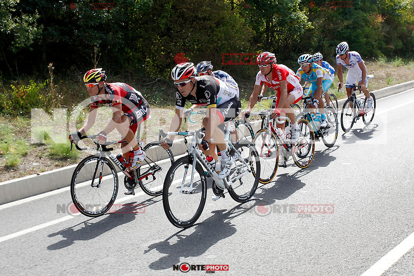 Sergio Carrasco (Andalucia), Dominique Rollin (FDJ-BigMat), Nico Sijmens (Cofidis), Philippe Gilbert (BMC), Markel Irizar (RadioShack), Andrey Zeits (Astana), Pim Ligthart (Vacansoleil) and Christophe Riblon (Ag2r) during the stage of La Vuelta 2012 between Faustino V and Eibar (Arrate).August 20,2012. (ALTERPHOTOS/Paola Otero) /NortePhoto.com<br />