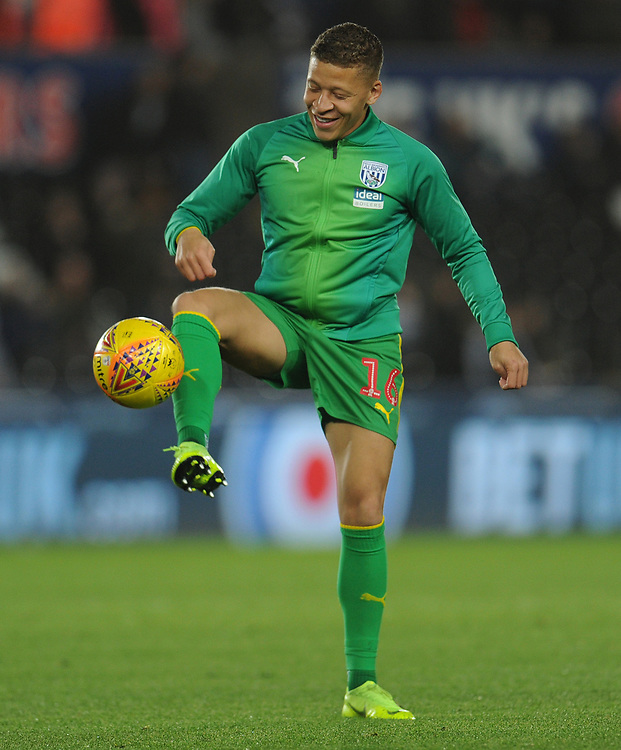West Bromwich Albion's Dwight Gayle during the pre-match warm-up <br /> <br /> Photographer Kevin Barnes/CameraSport<br /> <br /> The EFL Sky Bet Championship - Swansea City v West Bromwich Albion - Wednesday 28th November 2018 - Liberty Stadium - Swansea<br /> <br /> World Copyright © 2018 CameraSport. All rights reserved. 43 Linden Ave. Countesthorpe. Leicester. England. LE8 5PG - Tel: +44 (0) 116 277 4147 - admin@camerasport.com - www.camerasport.com