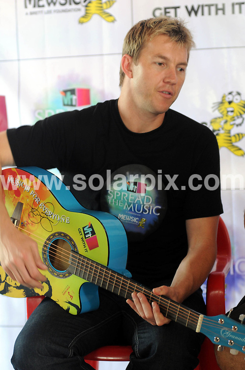 "**ALL ROUND PICTURES FROM SOLARPIX.COM**                                             **WORLDWIDE SYNDICATION RIGHTS**                                                                                  Caption: Australian cricketer Brett Lee's foundation - Mewsic - has partnered with Vh1 for the campaign - Spread the Music - to aid underprivileged children with music education. Brett Lee, launched the campaign with other well known artistes from the Indian music industry, composing and choreographing a song for the campaign..Brett Lee said, ""I am thrilled that together with Vh1, we can spread the music across India to heal, educate and empower disadvantaged Indian kids. Music has helped me a lot in my life and I believe that it has the potential to help many kids overcome challenges they face in life, to reach their full potential."".Leading music artistes will mentor the 'Mewsic' program children and will organize a charity concert to spread awareness on the initiative. Vh1 is promoting the campaign through digital, radio and on-ground activities..Vh1 Channel India head Ferzad Palia said, ""We're delighted to launch 'Vh1 Spread The Music'. There are so many less fortunate children out there with immense talent; however, lack of finances and various other reasons deter them from coming to the fore. Our endeavour is to aid this talent in every possible way.""  New Dehli, India. 25 August 2011                                                                             This pic: Brett Lee                                                                                             JOB REF: 13887 SJA       DATE: 25_08_2011                                                           **MUST CREDIT SOLARPIX.COM OR DOUBLE FEE WILL BE CHARGED**                                                                      **MUST AGREE FEE BEFORE ONLINE USAGE**                               **CALL US ON: +34 952 811 768 or LOW RATE FROM UK 0844 617 7637**"