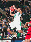 North Texas Mean Green forward Ash'Lynne Evans (1) in action during the game between the Louisiana Lafayette Ragin' Cajuns and the University of North Texas Mean Green at the North Texas Coliseum,the Super Pit, in Denton, Texas. UNT defeats Louisiana Lafayette 78 to 40....