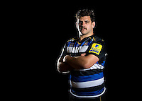 Rob Webber of Bath Rugby poses for a portrait in the 2015/16 home kit during a Bath Rugby photocall on December 1, 2015 at Farleigh House in Bath, England. Photo by: Patrick Khachfe / Onside Images