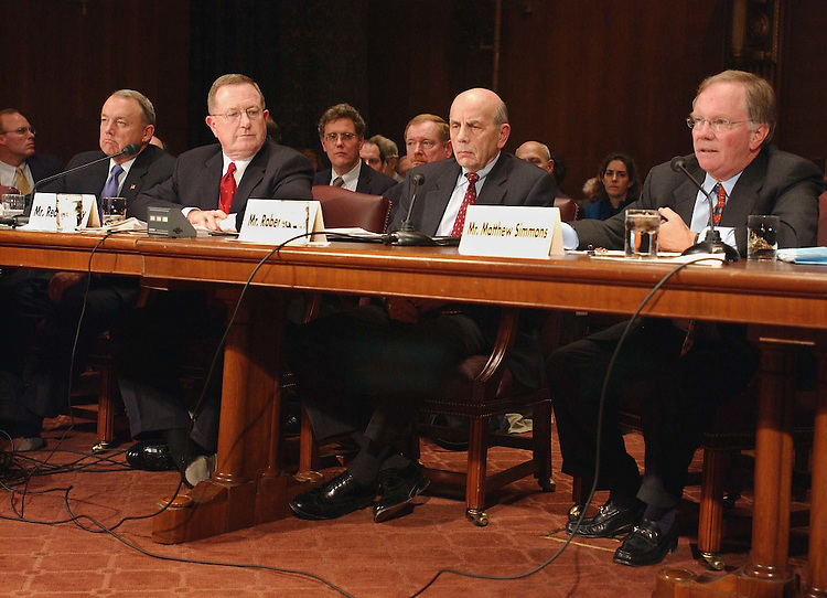 2/13/03.OIL SUPPLY AND PRICES--James C. May, president and CEO of the Air Transport Association, Red Cavaney, president of the American Petroleum Institute, Robert E. Ebel, director of the Center for Strategic and International Studies, and Matthew Simmons, chairman and CEO of Simmons & Company, during a hearing before Senate Energy on oil supply and prices..CONGRESSIONAL QUARTERLY PHOTO BY SCOTT J. FERRELL