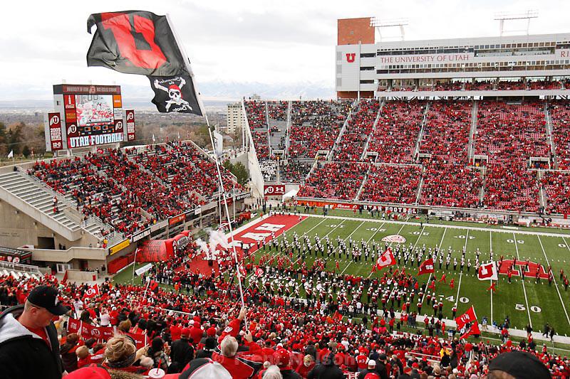 Trent Nelson  |  The Salt Lake Tribune.Utah takes the field, Utah vs. Colorado, college football at Rice-Eccles Stadium in Salt Lake City, Utah, Friday, November 25, 2011