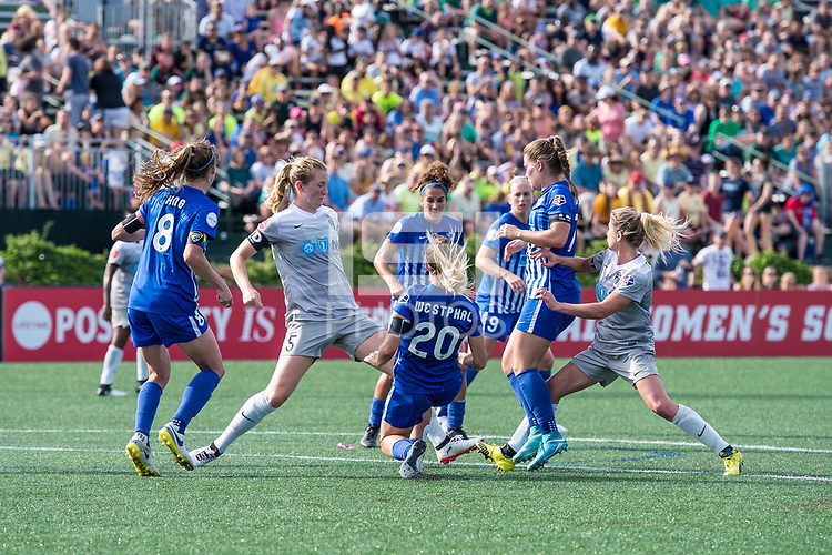 Boston, MA - Saturday June 24, 2017: Samantha Mewis and Christen Westphal during a regular season National Women's Soccer League (NWSL) match between the Boston Breakers and the North Carolina Courage at Jordan Field.