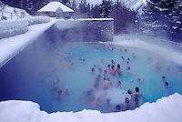 The Upper Mineral Hot Springs in Banff, in Banff National Park in the Canadian Rockies, Alberta, Canada, in Winter