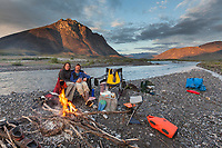 River camp during a float trip down the Marsh Fork of the Canning River, Arctic National Wildlife Refuge, Brooks Range mountains, Alaska.
