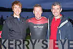 Cathal Moynihan, Fergal O'Callaghan and Gerard Sheehan pictured at the start of the Hardman Iron Distance Triathlon at the Killarney Golf and Fishing club on Saturday morning.