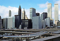 New York: Lower Manhattan from Brooklyn Bridge. Photo '78.
