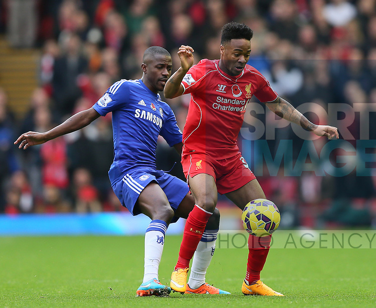 Ramires of Chelsea and Raheem Sterling of Liverpool  - Barclays Premier League - Liverpool vs Chelsea - Anfield Stadium - Liverpool - England - 8th November 2014  - Picture Simon Bellis/Sportimage