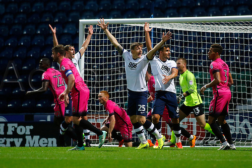 09.08.2016. Deepdale, Preston, England. Football League Cup 1st Round. Preston North End versus Hartlepool. Preston North End striker Jordan Hugill (25) appeals for a penalty after his header is stopped on the line.
