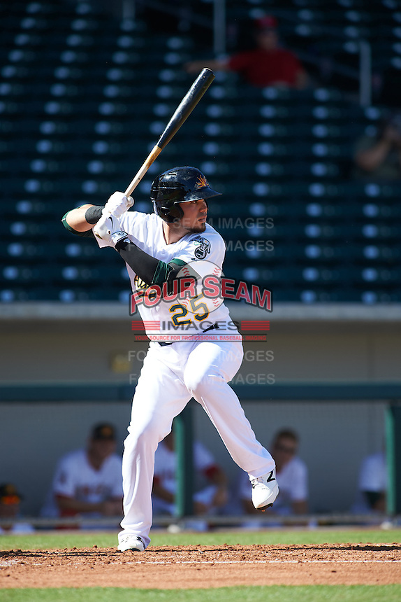 Mesa Solar Sox third baseman Renato Nunez (25) at bat during an Arizona Fall League game against the Scottsdale Scorpions on October 19, 2015 at Sloan Park in Mesa, Arizona.  Scottsdale defeated Mesa 10-6.  (Mike Janes/Four Seam Images)
