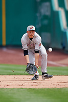Wisconsin Timber Rattlers first baseman Ryan Aguilar (21) fields a ball during a game against the Fort Wayne TinCaps on May 10, 2017 at Parkview Field in Fort Wayne, Indiana.  Fort Wayne defeated Wisconsin 3-2.  (Mike Janes/Four Seam Images)