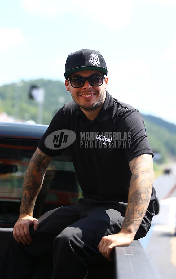 Jun 18, 2017; Bristol, TN, USA; NHRA funny car driver Jonnie Lindberg during the Thunder Valley Nationals at Bristol Dragway. Mandatory Credit: Mark J. Rebilas-USA TODAY Sports