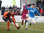 Calum Gallagher challenges keeper Sandy Wood