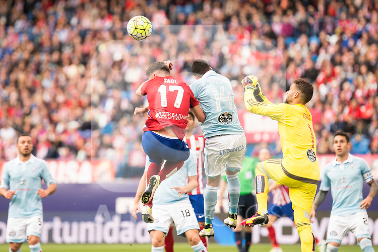 Atletico de Madrid's Saul and Celta de Vigo's Orellana and Sergio during La Liga Match at Vicente Calderon Stadium in Madrid. May 14, 2016. (ALTERPHOTOS/BorjaB.Hojas)