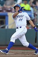 Omaha Storm Chasers designated hitter Max Ramierez #44 swings during the game against the Reno Aces at Werner Park on August 3, 2012 in Omaha, Nebraska.(Dennis Hubbard/Four Seam Images)