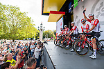 Lotto-Soudal on stage at the Team Presentation before Stage 1 of the Deutschland Tour 2019, running 167km from Hannover to Halberstadt, Germany. 29th August 2019.<br /> Picture: ASO/Marcel Hilger | Cyclefile<br /> All photos usage must carry mandatory copyright credit (© Cyclefile | ASO/Marcel Hilger)