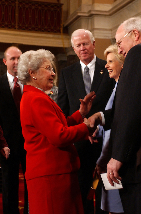 senateswearin6/010703 -- Mother of Sen. Saxby Chambliss, R-Ga., Emma B, greets Vice President Dick Cheney before her son was sworn into the 108th Congress in the Old Senate Chamber.