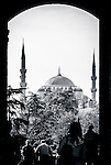 The Blue Mosque viewed through the Topkapi Palace Imperial Gates, Istanbul, Turkey