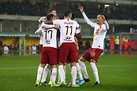 Diego Perotti of AS Roma celebrates after scoring the goal of 1-2 <br /> Verona 1-12-2019 Stadio Bentegodi <br /> Football Serie A 2019/2020 <br /> Hellas Verona - AS Roma <br /> Photo Gino Mancini / Insidefoto