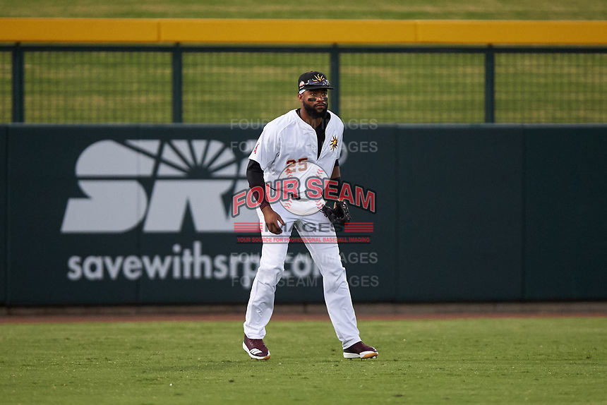 Mesa Solar Sox left fielder Jo Adell (25), of the Los Angeles Angels organization, during an Arizona Fall League game against the Scottsdale Scorpions on September 18, 2019 at Sloan Park in Mesa, Arizona. Scottsdale defeated Mesa 5-4. (Zachary Lucy/Four Seam Images)