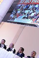 """Roma, 27 Novembre 2015<br /> Raffaele Cantone, Filippo Gaudenzi, Gianfranco Fini, Massimo D'Alema.<br /> Festival della Legalità: """"Io ho paura """"<br /> Convegno su immigrazione e terrorismo<br /> presso il Centro multimediale dell'Università degli studi Guglielmo Marconi"""