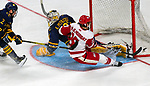 January 26, 2020:  A great save by Quinnipiac goalie Petruzzelli but Sacred Heart prevailed 4-1 upsetting the 17th ranked Bobcats in the Connecticut Ice Tourney. The inaugural event was held at the Webster Bank Arena in Bridgeport, Connecticut.  Heary/Eclipse Sportswire/CSM
