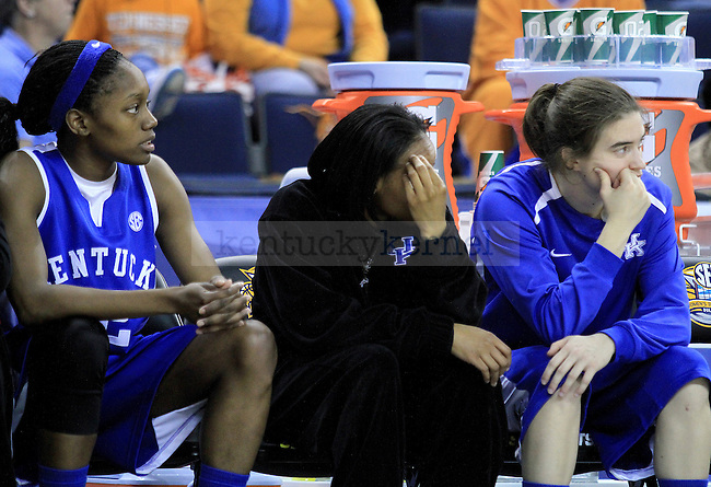 Teammates look on as UK falls behind during the second half of the UK women's basketball game against Tennessee for the SEC tournament at the Gwinnett Center on Sunday, March 7, 2010. UK lost to Tennessee  70-62. Photo by Adam Wolffbrandt   Staff