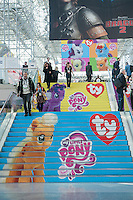 Ty Inc. branded stairs at the 111th American International Toy Fair in the Jacob Javits Convention center in New York on Monday, February 17, 2014.  The four day trade show with over 1000 exhibitors connects buyers and sellers and is expected to draw tens of thousands of attendees.  The toy industry generates  $22 billion in the United States and Toy Fair is the largest toy trade show in the Western Hemisphere. (© Richard B. Levine)