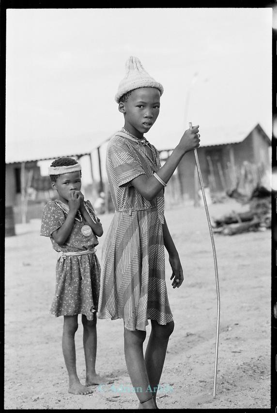 San girl  Tchumkwe village . Bushmanland. Namibia