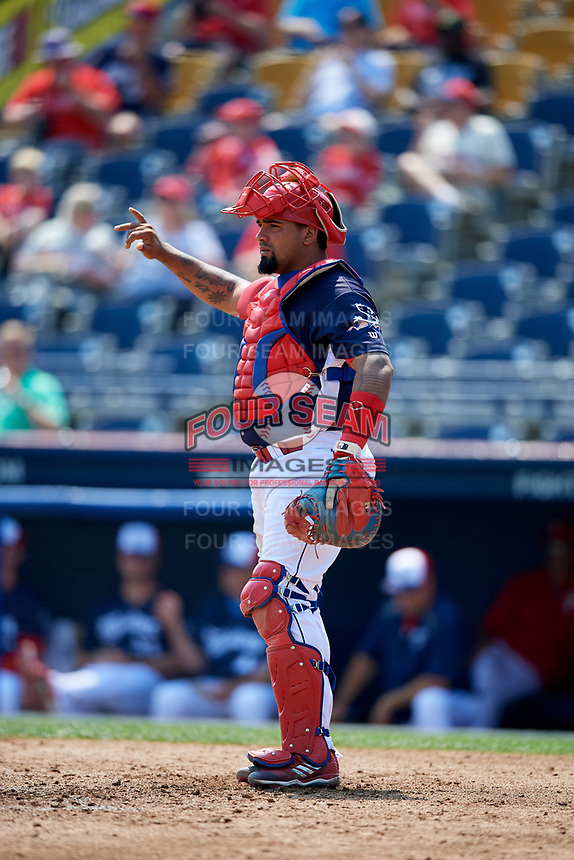 Reading Fightin Phils catcher Deivi Grullon (17) signals to the defense during the first game of a doubleheader against the Portland Sea Dogs on May 15, 2018 at FirstEnergy Stadium in Reading, Pennsylvania.  Portland defeated Reading 8-4.  (Mike Janes/Four Seam Images)
