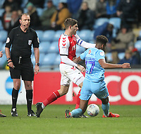 Fleetwood Town's Ched Evans in action with Coventry City's Morgan Williams <br /> <br /> Photographer Mick Walker/CameraSport<br /> <br /> The EFL Sky Bet League One - Coventry City v Fleetwood Town - Tuesday 12th March 2019 - Ricoh Arena - Coventry<br /> <br /> World Copyright © 2019 CameraSport. All rights reserved. 43 Linden Ave. Countesthorpe. Leicester. England. LE8 5PG - Tel: +44 (0) 116 277 4147 - admin@camerasport.com - www.camerasport.com