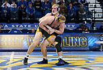 BROOKINGS, SD - FEBRUARY 11: Tanner Sloan from South Dakota State University battles with Cordell Eaton from North Dakota State University during their 197 pound match Friday night at Frost Arena in Brookings, SD. (Photo by Dave Eggen/Inertia)