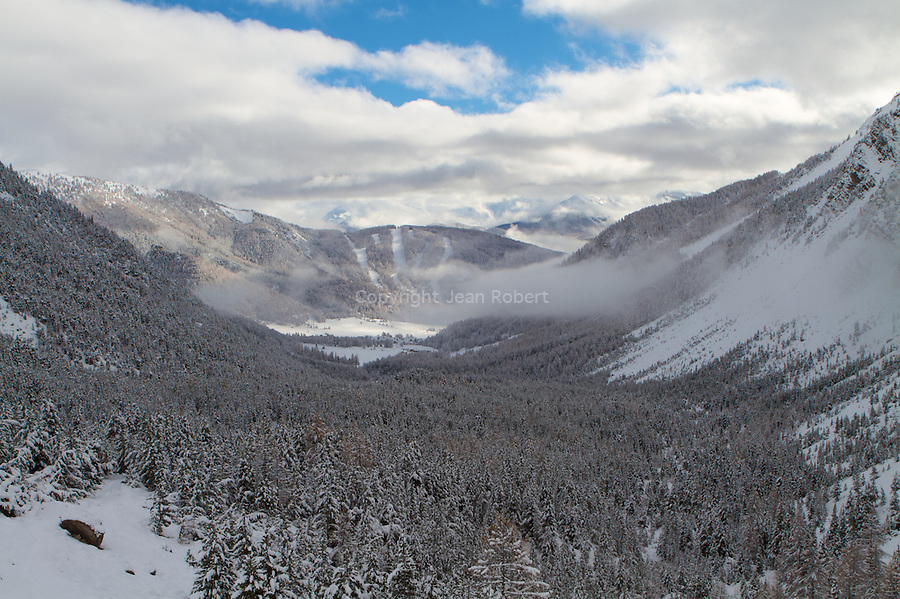 view of Arvieux valley and ski resort of La chalp
