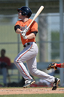 Baltimore Orioles Jeff Kemp (9) during a minor league spring training game against the Boston Red Sox on March 18, 2015 at the Buck O'Neil Complex in Sarasota, Florida.  (Mike Janes/Four Seam Images)