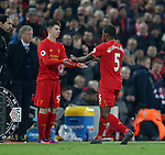 Oviemuno Ejaria of Liverpool comes on for Georginaio Wijnaldum of Liverpool during the Premier League match at the Anfield Stadium, Liverpool. Picture date: November 26th, 2016. Pic Simon Bellis/Sportimage
