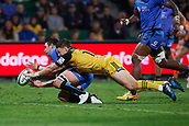 June 3rd 2017, NIB Stadium, Perth, Australia; Super Rugby; Force v Hurricanes;  Beauden Barrett of the Hurricanes dives for an attempted try past Richard Hardwick of the Western Force
